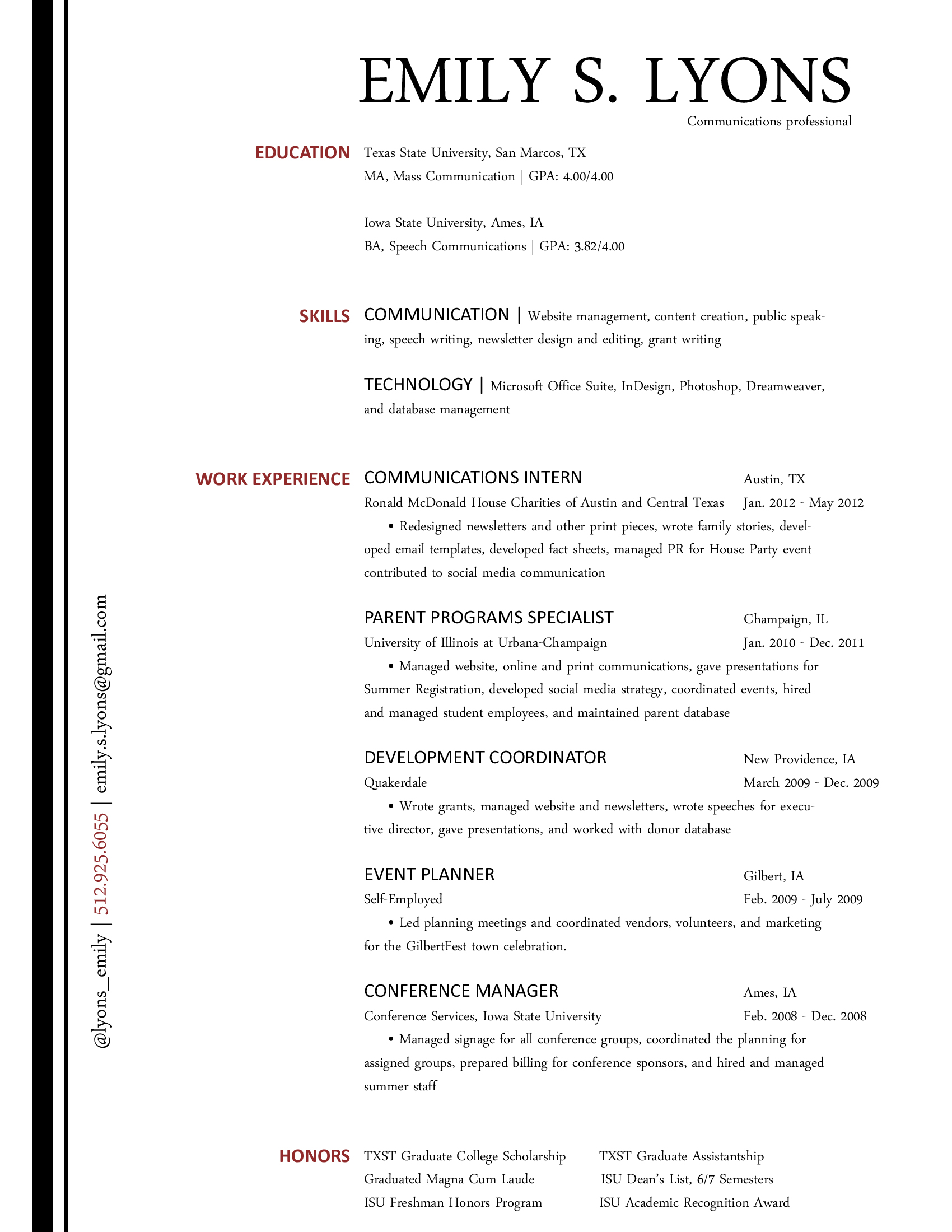 the communications resume
